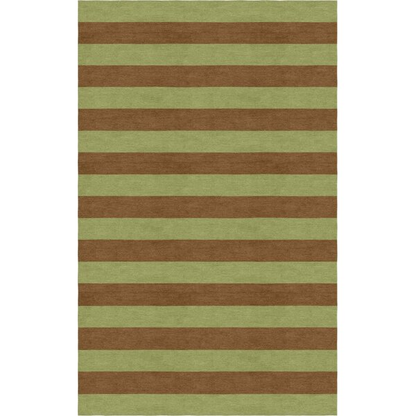 Shoemake Stripe Hand-Tufted Wool Olive/Brown Area Rug by Latitude Run