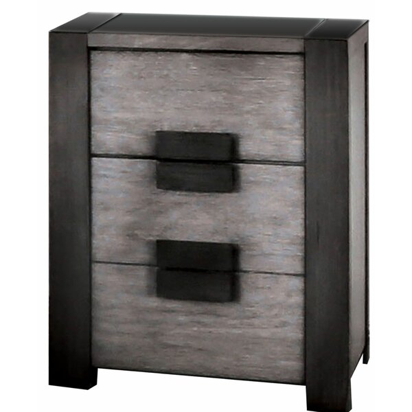 Corbinian Wooden 3 Drawer Nightstand by Ebern Designs