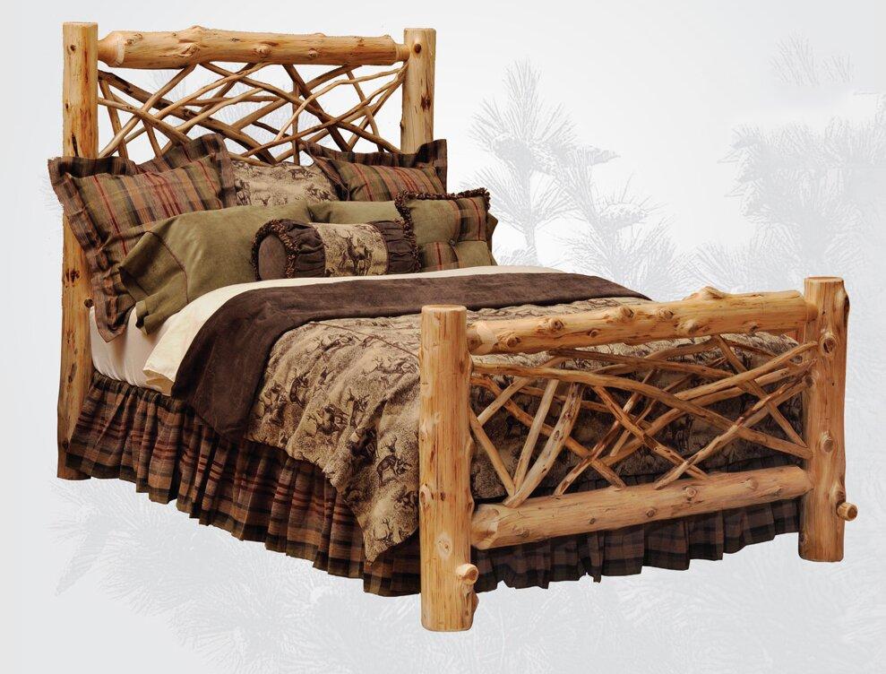 Traditional Cedar Log Panel Bed
