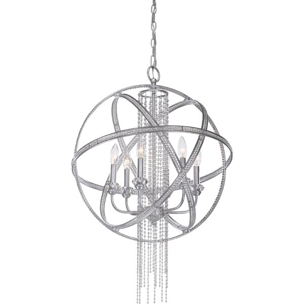 Destinee 6 - Light Candle Style Globe Chandelier by Everly Quinn Everly Quinn