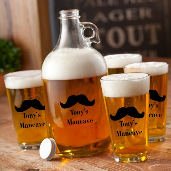 5 Piece Personalized Printed Beard Growler Set by JDS Personalized Gifts