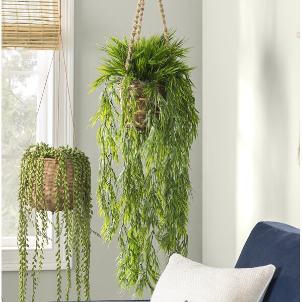 Artificial Mini Bamboo Hanging Plant in Basket by