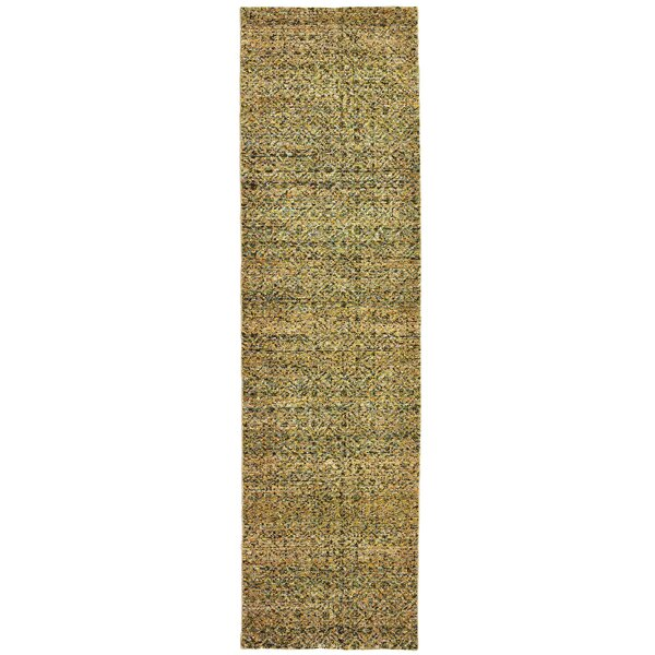 Bobby Green/Gold Area Rug by Winston Porter