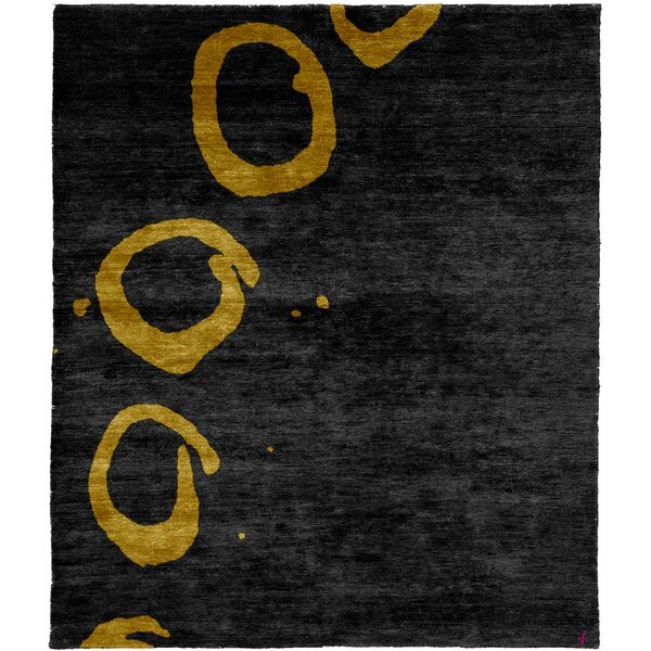 One-of-a-Kind Pamplin Hand-Knotted Traditional Style Black 9' x 12' Wool Area Rug