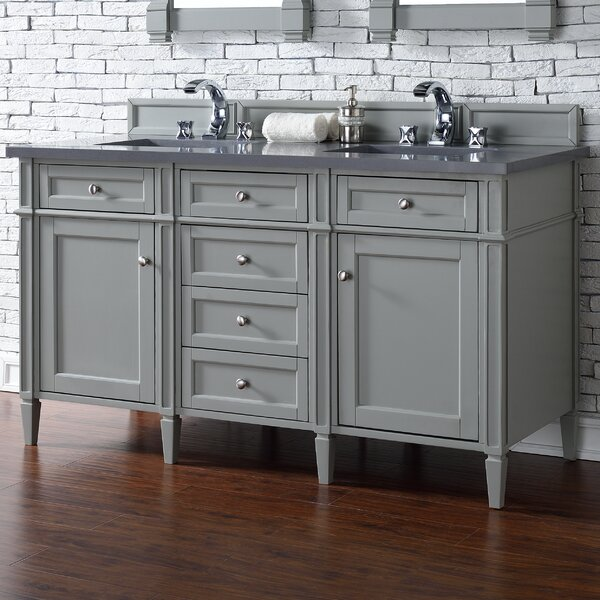 Deleon 60 Double Urban Gray Quartz Top Bathroom Vanity Set by Darby Home Co