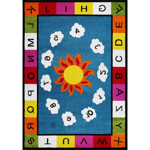 Kindig Alphabets Numbers Blue/Yellow Area Rug by Zoomie Kids