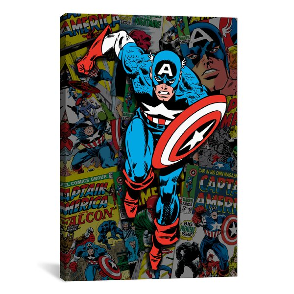 Marvel Comics Captain America Cover Collage Graphic Art on Wrapped Canvas by iCanvas