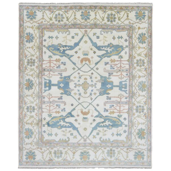 One-of-a-Kind Finadeni Oriental Hand Woven Wool Beige/Blue Area Rug by Isabelline