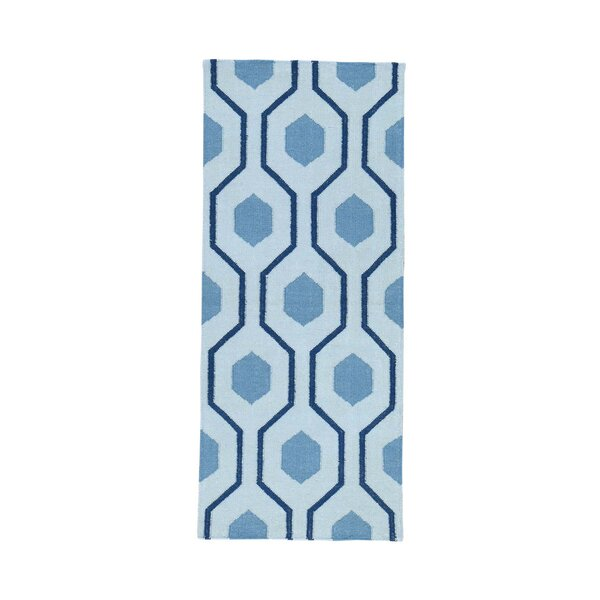One-of-a-Kind Zeiger Flat Weave Reversible Hand-Knotted Wool Blue Area Rug by George Oliver