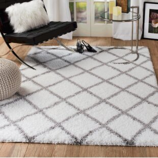 Quarterman Diamond White Gray Area Rug