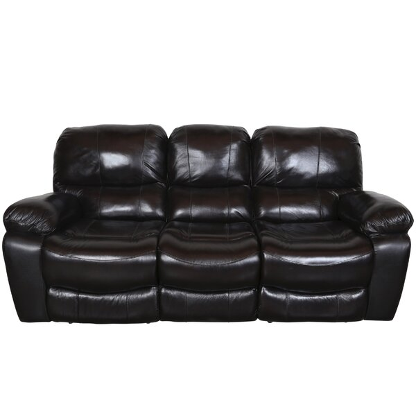 Rashida Modern Leather Reclining Sofa by Red Barrel Studio