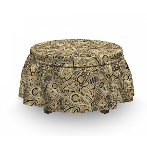 Earth Tones Welsh Pears 2 Piece Box Cushion Ottoman Slipcover Set By East Urban Home