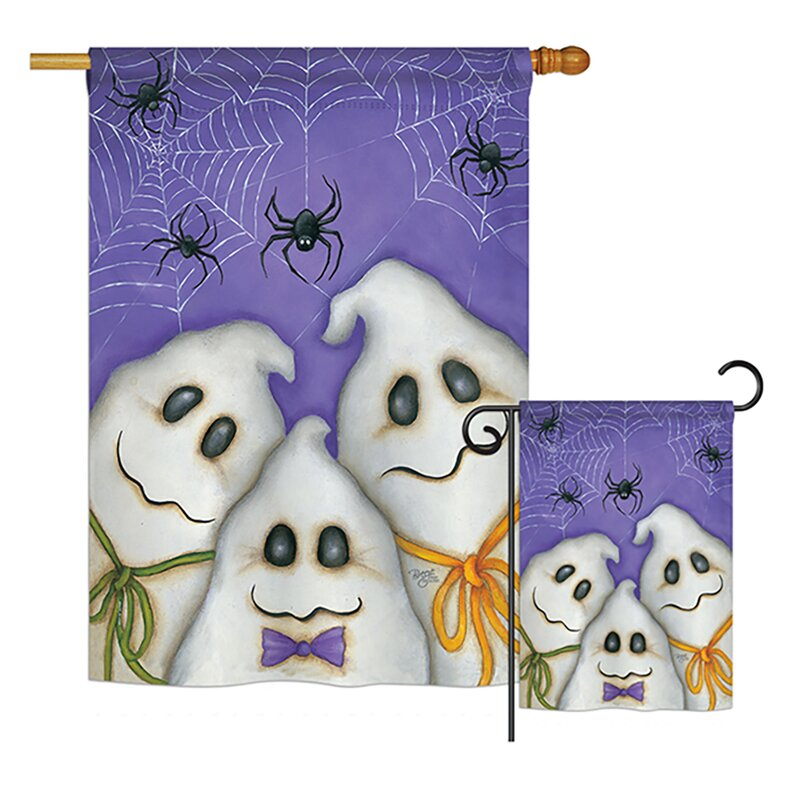 Breeze Decor 2 Piece 3 Ghosts Fall Halloween Impressions Decorative Vertical 2 Sided Polyester Flag Set Wayfair