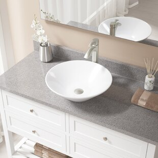 Affordable Vitreous China Circular Vessel Bathroom Sink with Faucet ByMR Direct