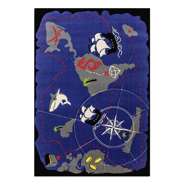 Black Pirate Hand-Tufted Blue Kids Rug by Cilek
