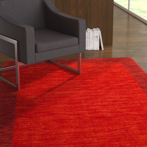 Hossain Hand-Loomed Wool Red Area Rug by Ebern Designs
