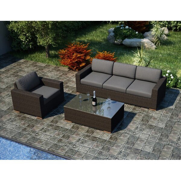 Hodge 3 Piece Teak Sofa Set With Sunbrella Cushions By Rosecliff Heights