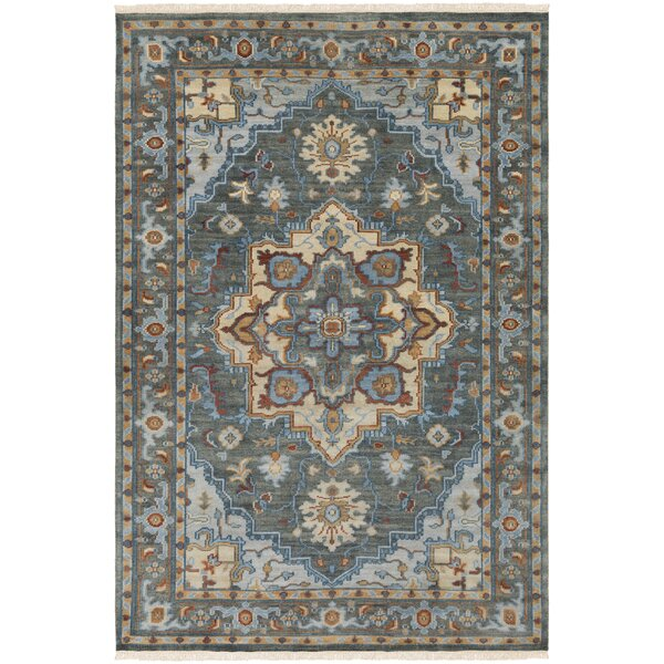 Carlisle Hand-Knotted Dark Green/Bright Blue Area Rug by Bloomsbury Market