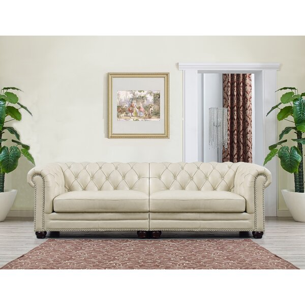 Lizete Cream Leather Chesterfield Sofa by Willa Arlo Interiors