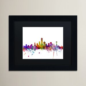'Dallas Texas Skyline' Framed Graphic Art on Canvas by Ivy Bronx