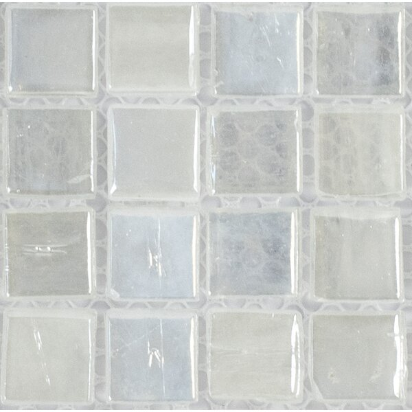 Piazza 0.5 x 0.5 Glass Mosaic Tile in White by Byzantin Mosaic