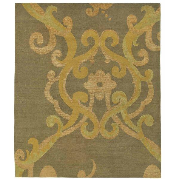 Assumed Arabesque Verdigris Hand-Knotted Wool/Silk Golden Yellow Area Rug