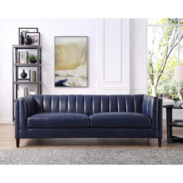 Weekend Choice Cournoyer Leather Sofa Get The Deal! 60% Off