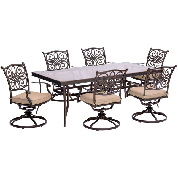 Carleton 7 Piece Outdoor Dining Set with Cushions by Fleur De Lis Living