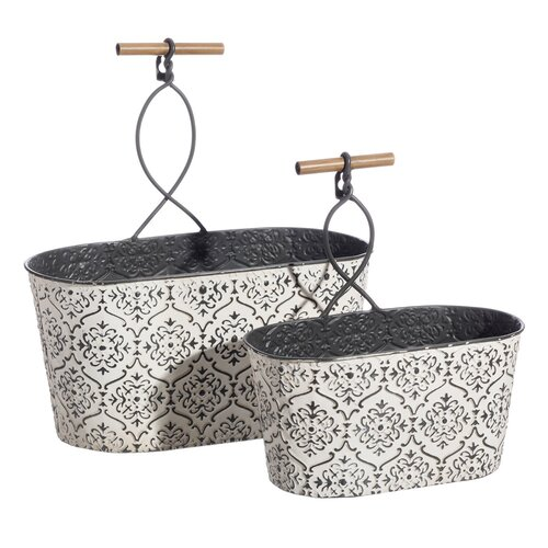 2-tlg. Blumenkübel-Set Durso aus Metall Bloomsbury Market   Dekoration > Dekopflanzen > Pflanzenkübel   Bloomsbury Market