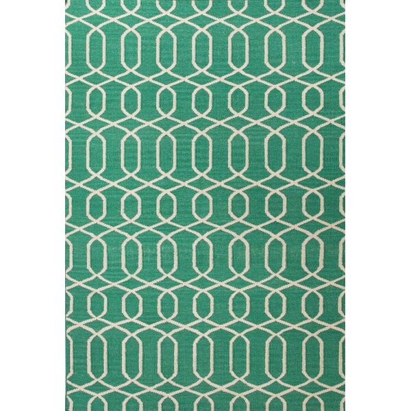Ginger Hand-Woven Wool Green/Ivory Area Rug by Mercer41