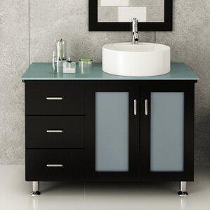 Lune 39  Single Vessel Modern Bathroom Vanity Set32 Inch Bath Vanity   Wayfair. D Vontz Natural Marble Vessel Single Sink Bathroom Vanity Top. Home Design Ideas