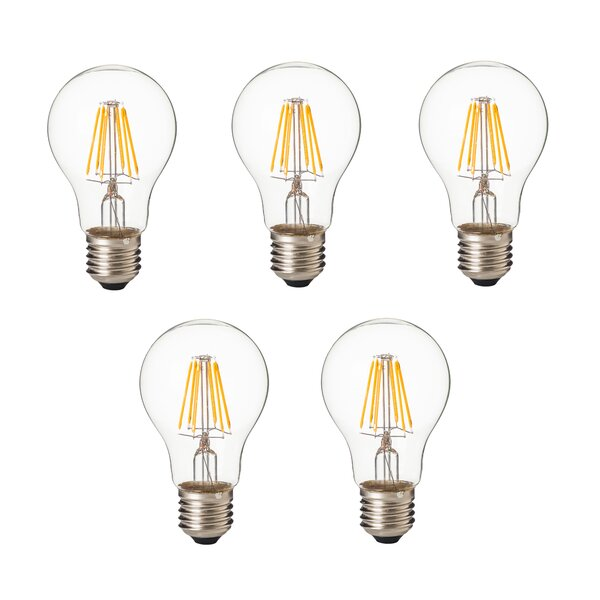 8W E26/Medium Standard LED Vintage Filament Light Bulb (Set of 5) by Artiva USA