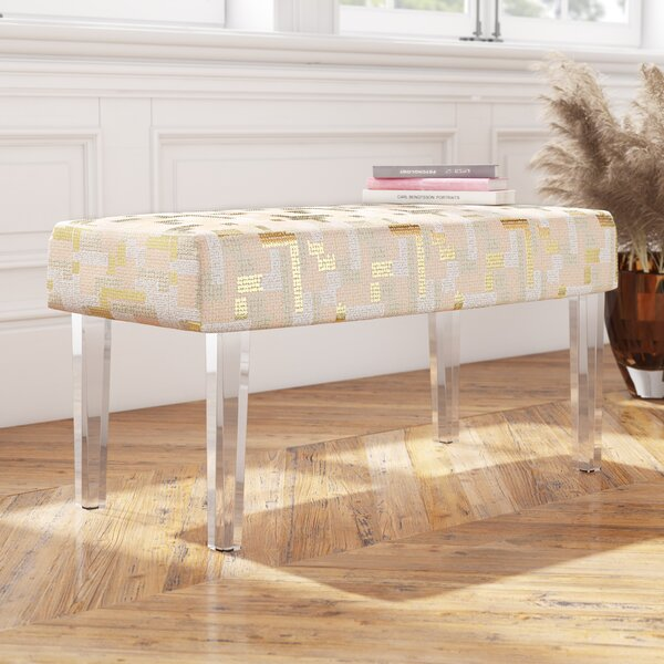 Zeledon Sequin Colorblock Upholstered Bench With Acrylic Leg By Mercer41