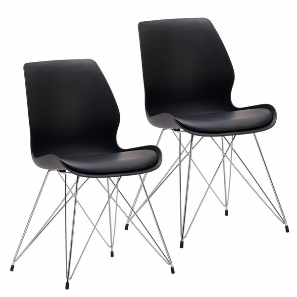 Aceves Mid-century Modern Cushioned Side Chair (Set of 2) by Wrought Studio