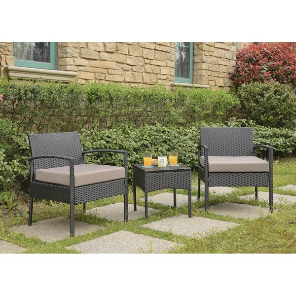 Howze 3 Piece 2 Person Seating Group with Cushions Wrought Studio VKGL2477
