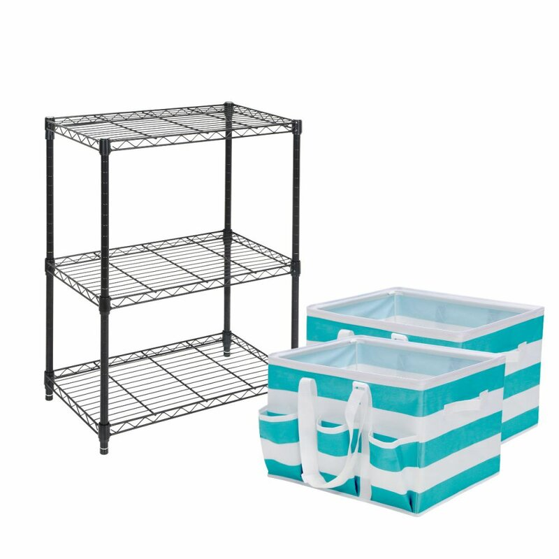 Tidy Living 3 Tier Wire Storage Rack with Utility Tote & Reviews ...