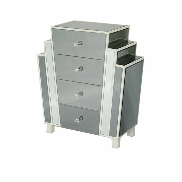 Cary Art-Deco Mirrored 4 Drawer Accent Chest