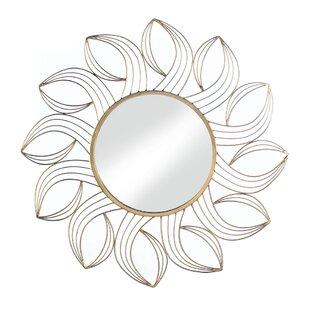 House of Hampton Akins Golden Petals Wall Accent Mirror