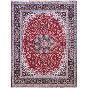 Savings Speegle Classical Traditional Kashan Persian Blue/Burgundy Area Rug ByWorld Menagerie