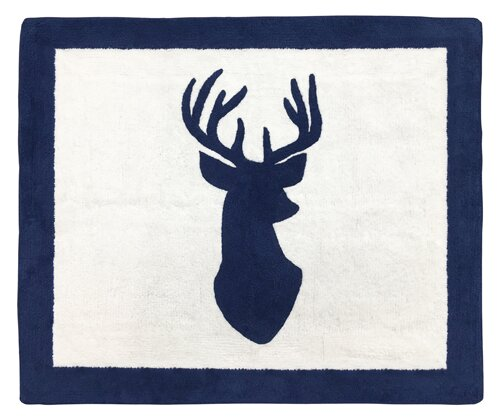 Woodland Deer Hand-Tufted Navy/White Area Rug by Sweet Jojo Designs