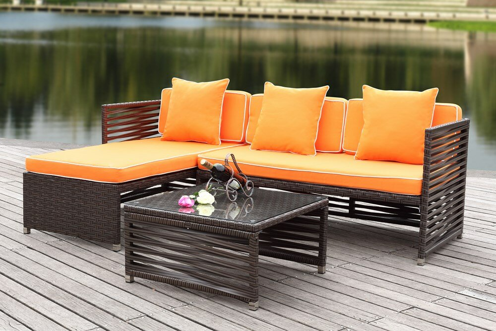 Eulalia 3 Piece Sectional Set with Cushions