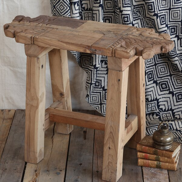 Arline Portico Salvaged Wood Accent Stool by Foundry Select