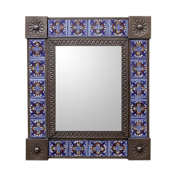 Medium Tin and Ceramic Wall Mirror by Novica