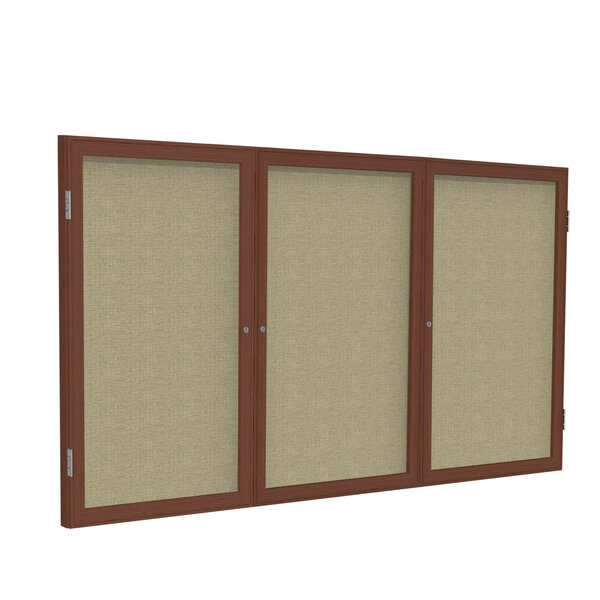Ghent 3 Door Enclosed Fabric Bulletin Boards with Wood Frame by Ghent