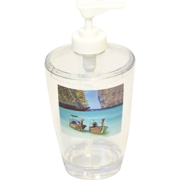 Paradise Clear Acrylic Printed Bathroom Soap Dispenser by Evideco