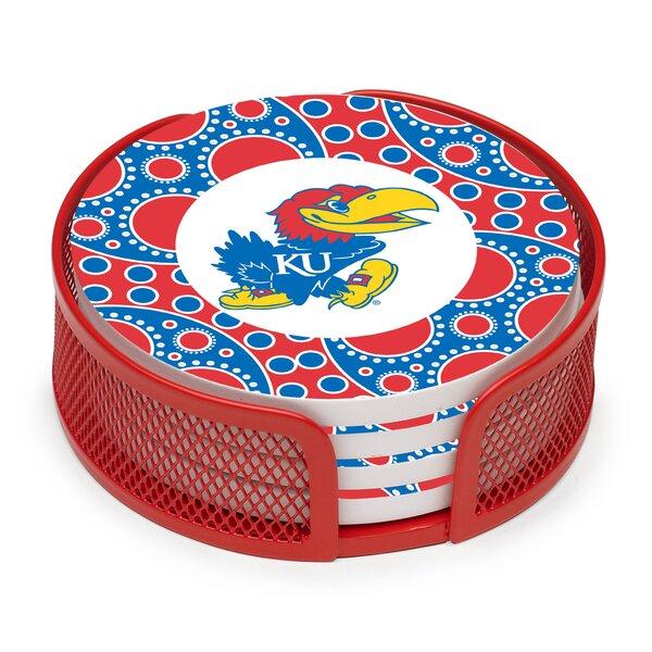 5 Piece University of Kansas Circles Collegiate Coaster Gift Set by Thirstystone