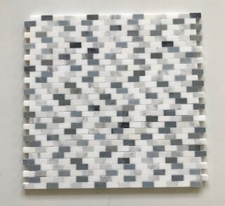 Mini Brick 0.37 x 0.88 Marble Mosaic Tile in White/Gray by La Maison en Pierre