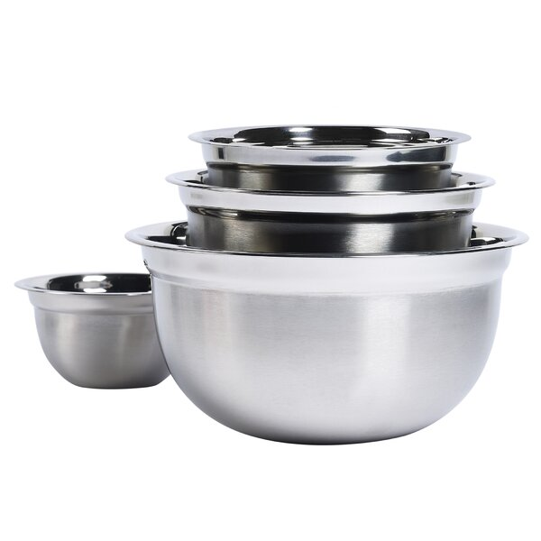 4 Piece Stainless Steel Mixing Bowl Set by Basic Essentials