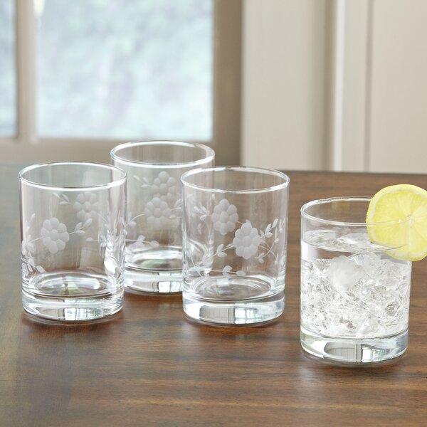 Floral Glassware Rocks Glass (Set of 4) by Birch Lane™