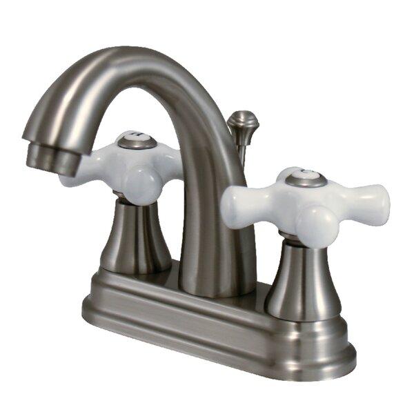 Elizabeth Centerset Bathroom Faucet With Double Porcelain Cross Handles By Elements Of Design